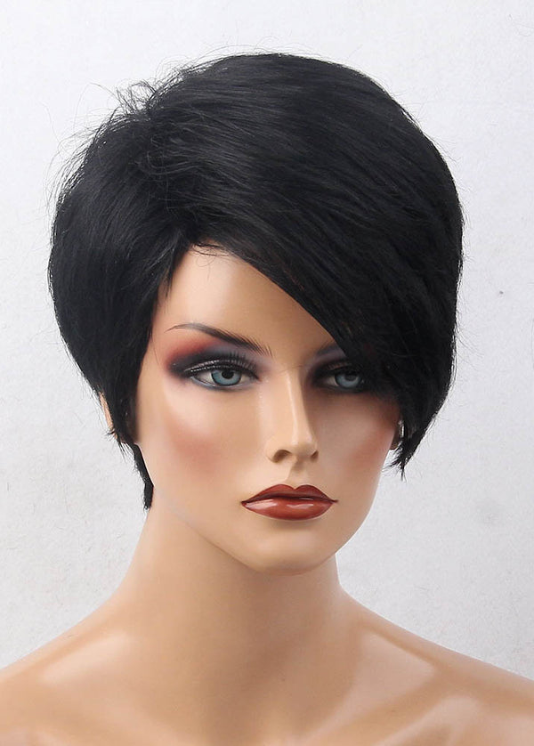 Short Hairstyle Exquisite Natural Black 6 Inches Straight Human Hair Wigs