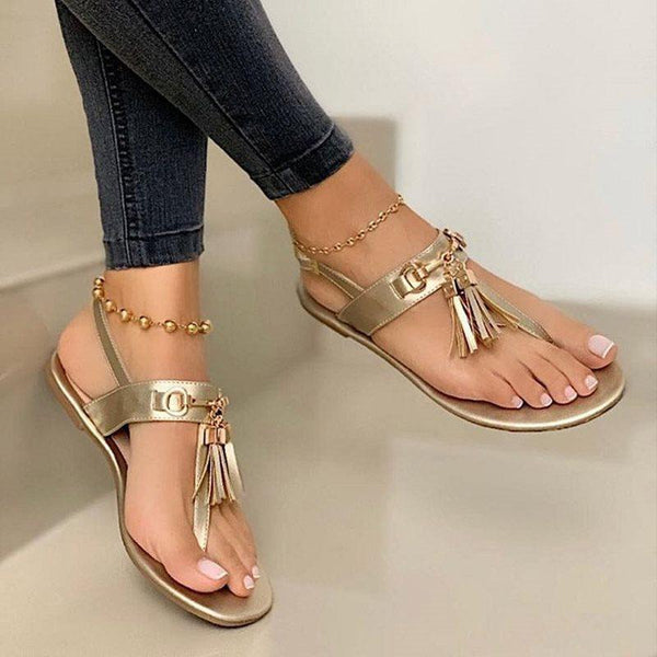 Flat With Thong Buckle Plain Sweet Sandals