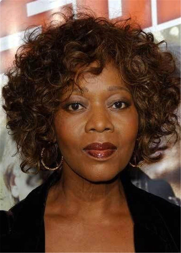 African American Wigs Women Capless Big Curly 10 Inches Synthetic Hair
