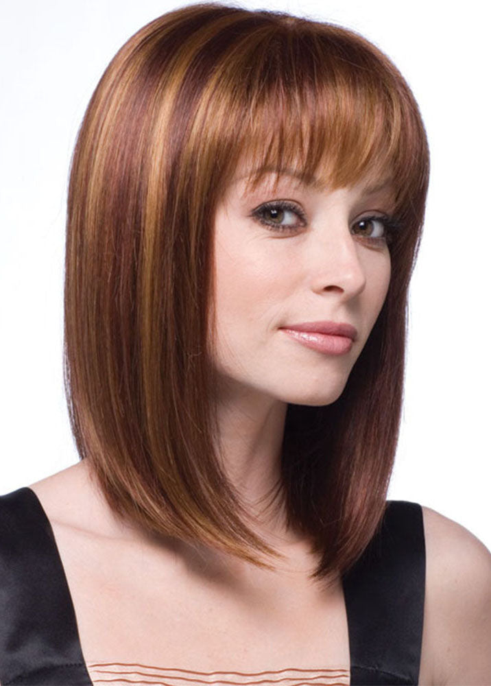Brown Meddle Length Bob Hairstyle Synthetic Hair Wigs With Bangs