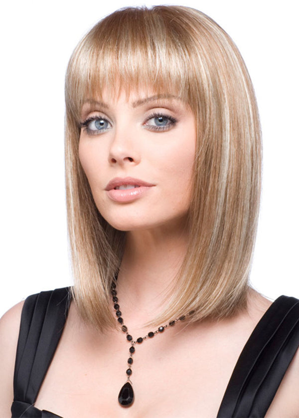 Light Gold Meddle Length Bob Hairstyle Synthetic Hair Wigs With Bangs