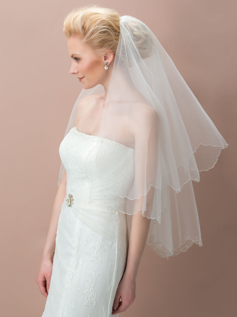 Two-Layer Bead Edge Ivory Wedding Veil