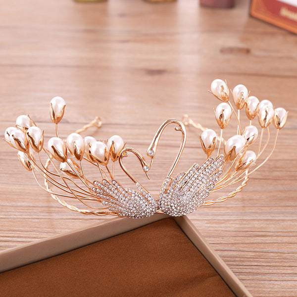Swan Pearl Tiara European Hair Accessories (Wedding)