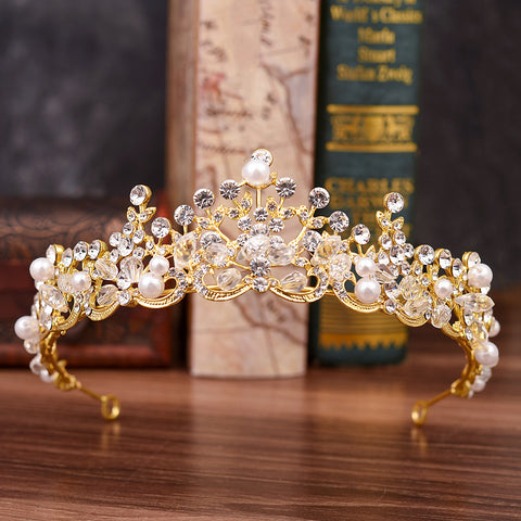 Fashion Handmade Beaded Rhinestone Tiara Crown Hair Accessories