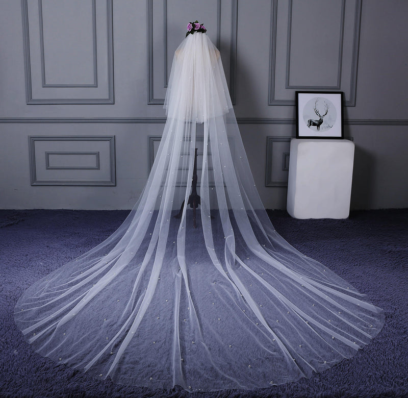 "Two-Layer Bead Cathedral(100""-120"") Cut Edge Wedding Veil"