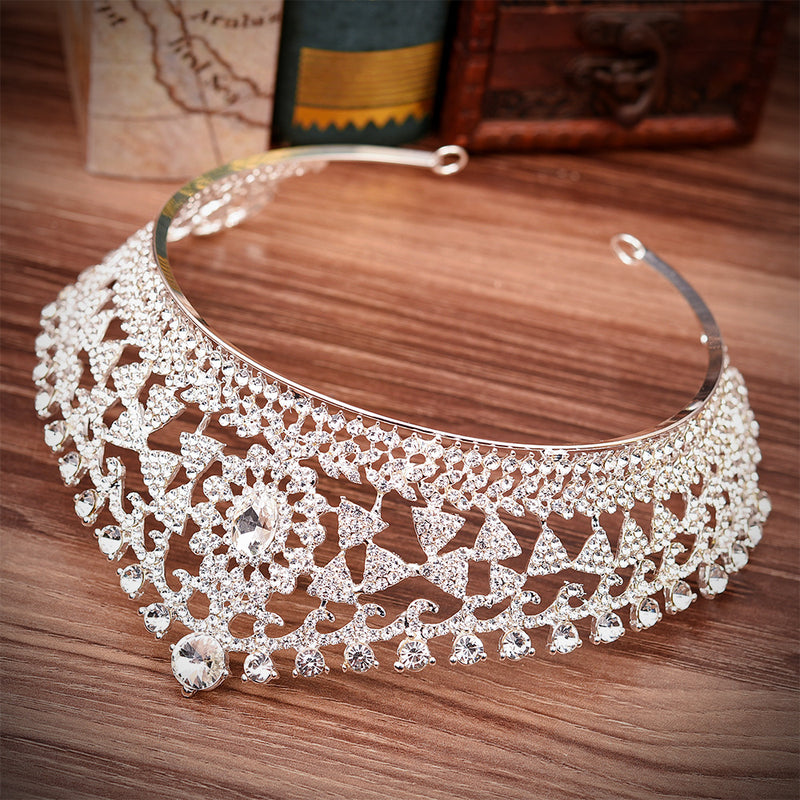 Exquisite Geometric Bridal Crown With Rhinestones