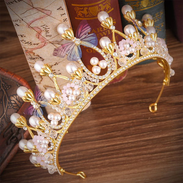 Fashion Butterfly Pearl Rhinestones Tiara Crown Hair Accessories