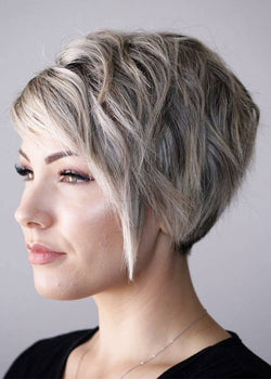 Pixie Cut Style Women's Short Straight Synthetic Hair Capless Wigs 10inch