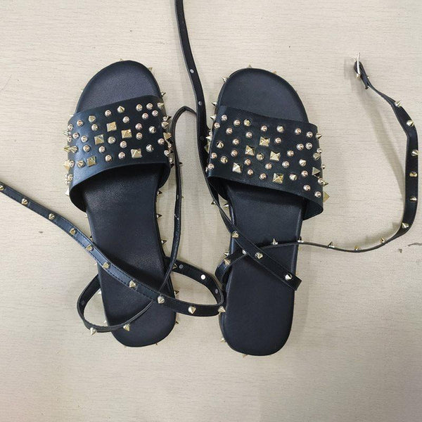 Platform Line-Style Buckle Open Toe Rivet Sandals