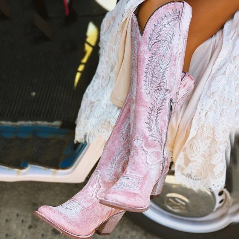 Pink Embroidery Chunky Heel Round Toe Side Zipper Dress Boots