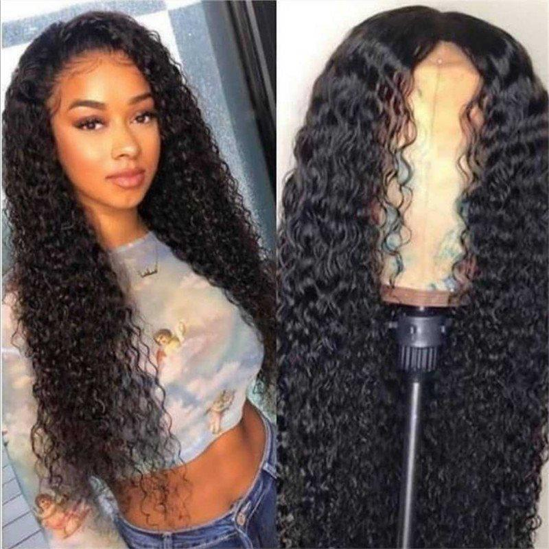 Black Full Lace Cap Curly Synthetic Hair 26 Inches Wigs