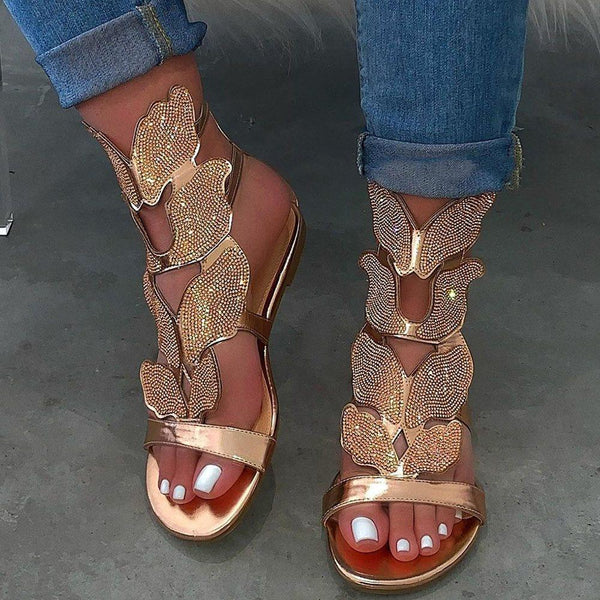 Zipper Flat With Open Toe Strappy Rhinestone Sandals