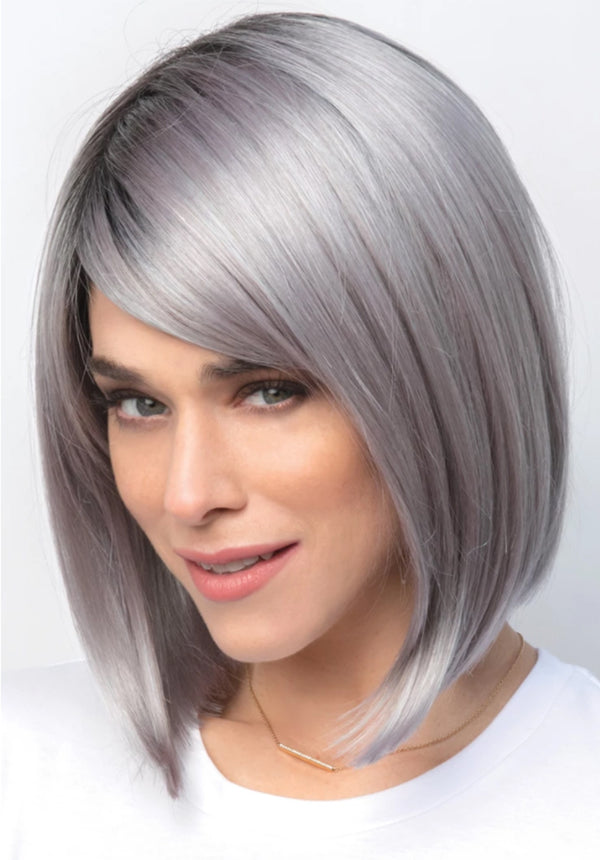 Silver Bob Hairstyle 12 Inches Synthetic Hair Capless Straight Wigs