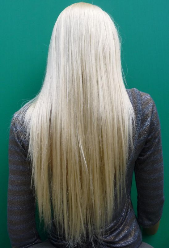 Long Silky Straight Bleach Blonde Real Synthetic Hair 28 Inches Wig