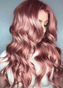Pink Long Waves Women's Wigs