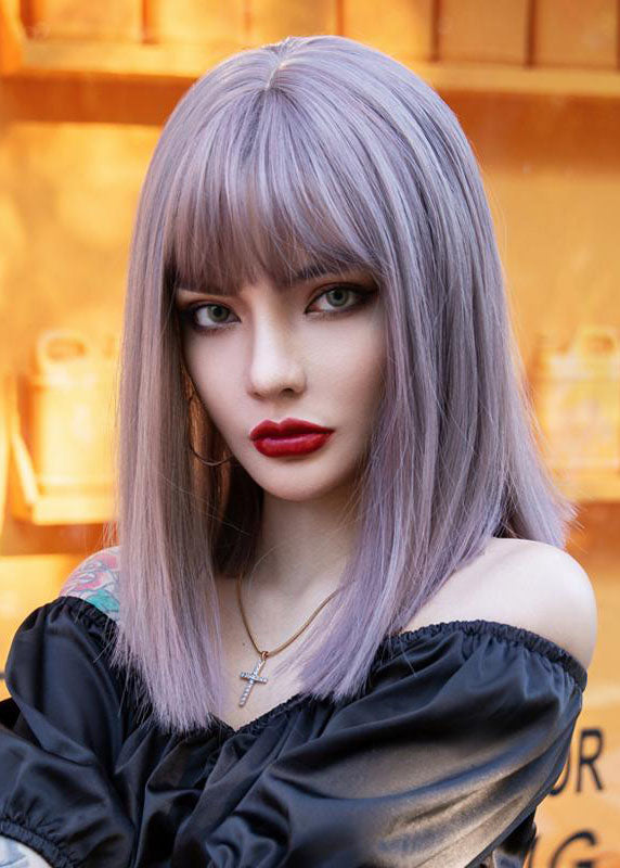 Plum Color Straight Hair Round Face Short Hair Styling Natural Fashion Wigs