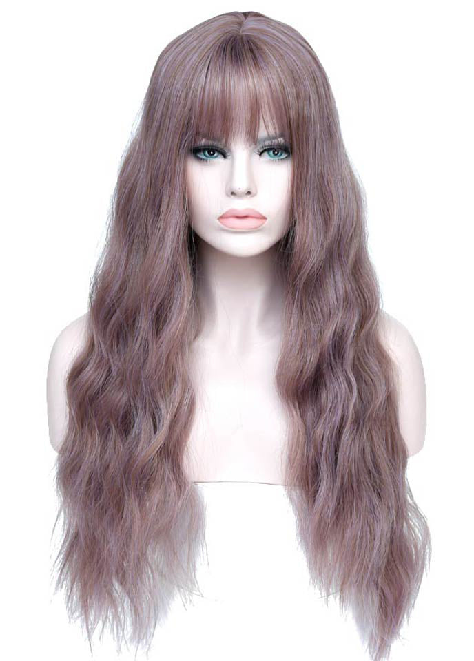Long Womens Wigs with Bangs Heat Resistant Synthetic Hair for Women African American