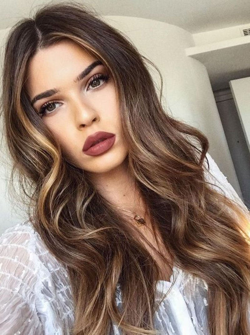 Brown Capless Wavy Synthetic Hair 28 Inches Long Women's Wigs