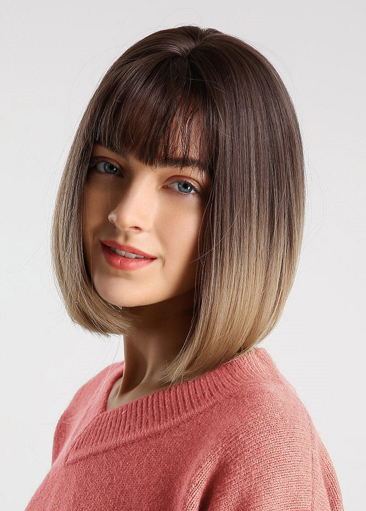 Women Bob Hairstyle Capless Natural Straight Synthetic Hair 12 Inches Wigs