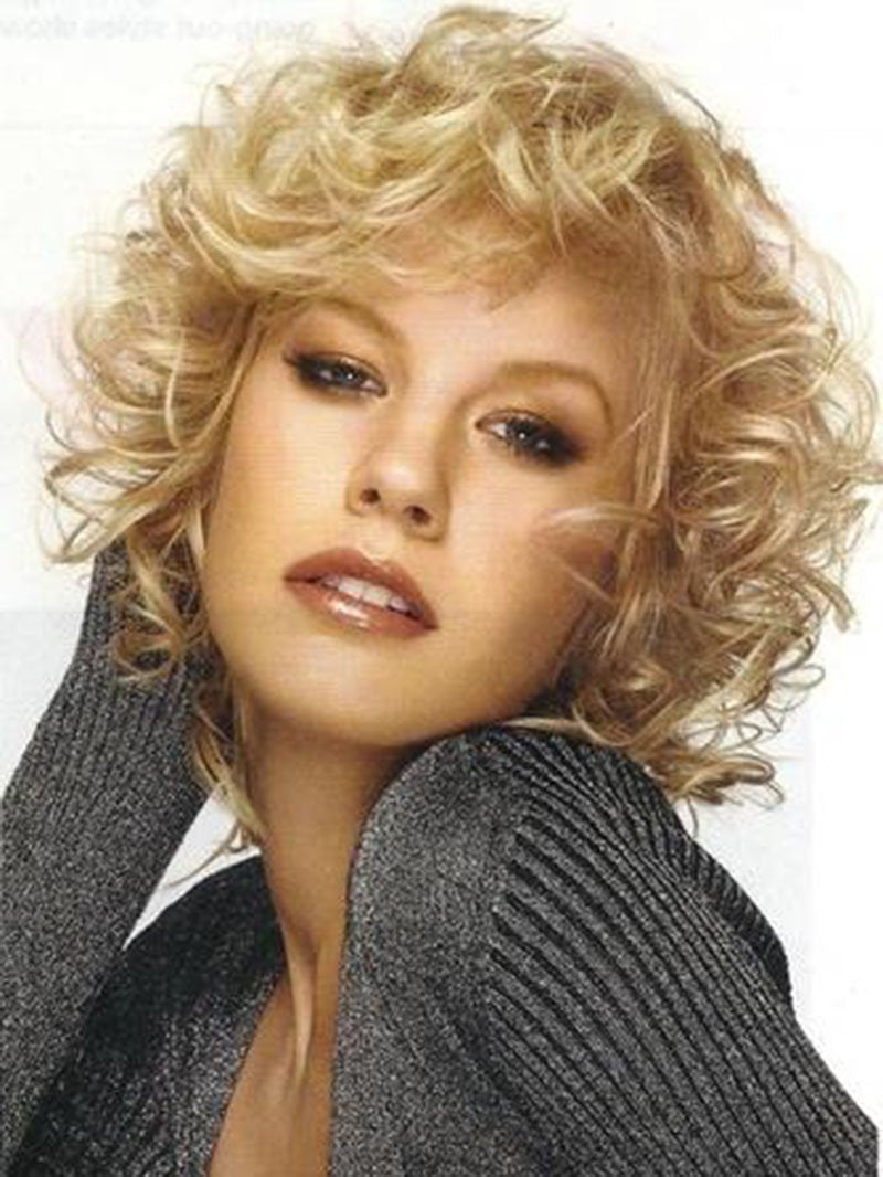 Fascinating Fluffy Short Curly Blonde 100% Synthetic Hair Wig 10 Inches