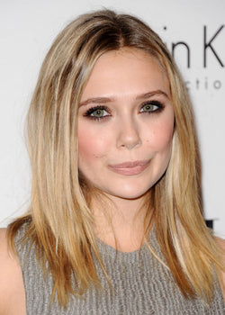 Medium Length Elizabeth Olsen Hairstyles Women's Straight Synthetic Hair Capless Wigs 20inch