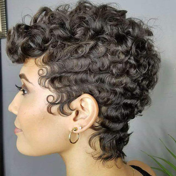 Synthetic Hair Curly Women Capless Short Wigs