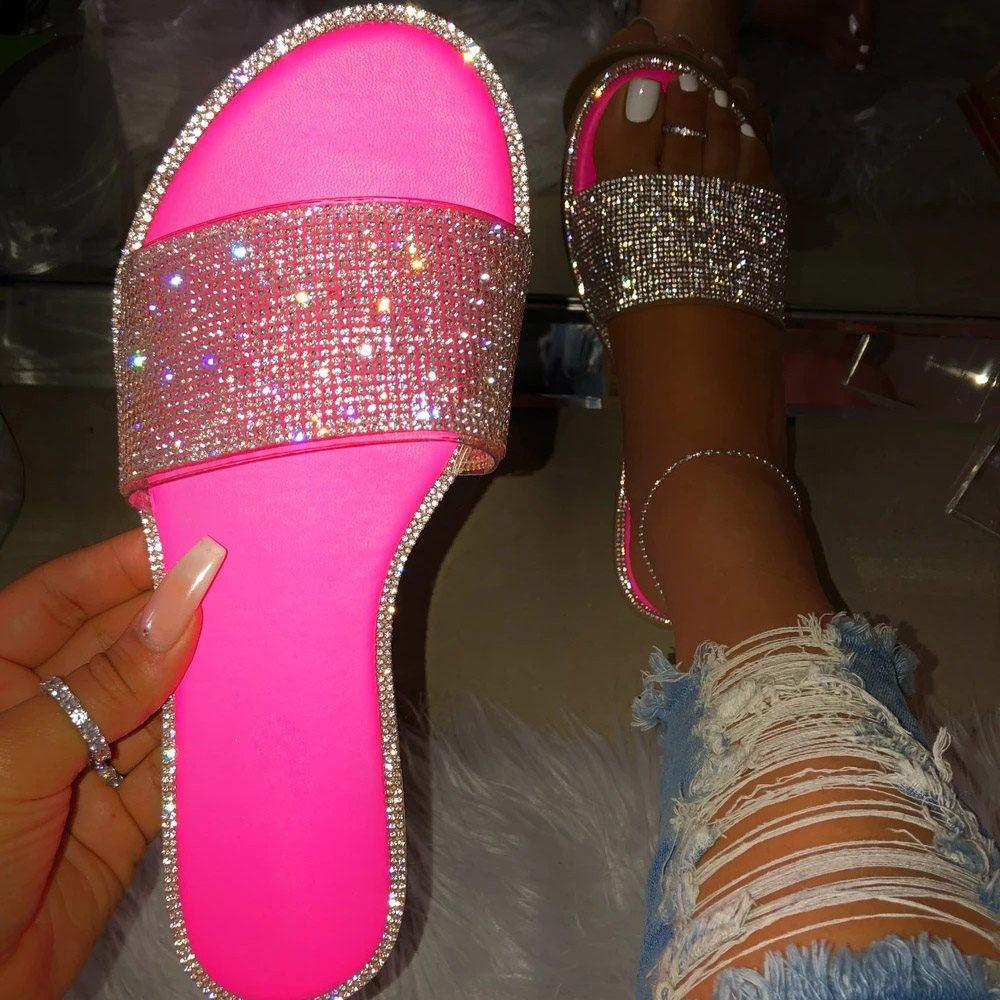 Slip-On Flip Flop Flat With Rhinestone Slippers