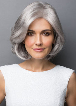 Short Straight Mid-Part Synthetic Hair Wigs Grandma Ash Capless Bob Wigs 16inch