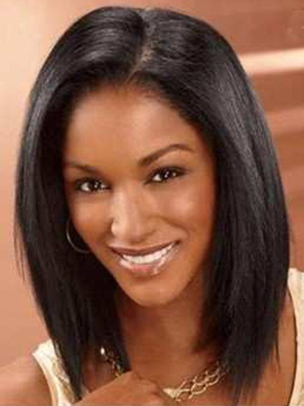 Straight Human Hair Lace Front Cap Wigs Black Bob Hairstyle