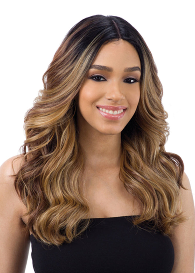 Women's Natural Black To Brown TB1/27 Ombre Color Body Wave Synthetic Hair Capless Wigs 24Inches