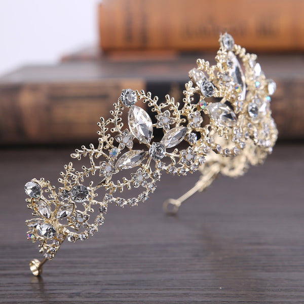 Crystal Inlaid Plant Tiara Party Hair Accessories