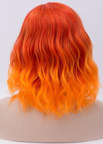 Fashion Short Instant Noodle Roll Orange Red Gradient Wig
