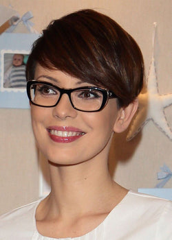 Women's Straight Pixie Cut Style Synthetic Hair Wigs Lace Front Cap Wigs 10inch
