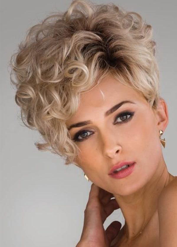 Short Women Curly Synthetic Hair Capless 12 Inches Wigs