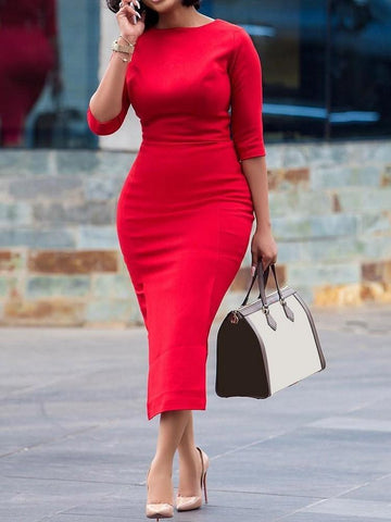 Three-Quarter Sleeve Round Neck Mid-Calf Red Body Dress