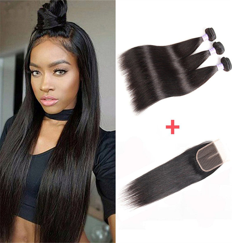 Pervian Hair Straight 3 bundles with closure