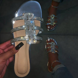 Rhinestone Flip Flop Slip-On Flat With Casual Casual Slippers