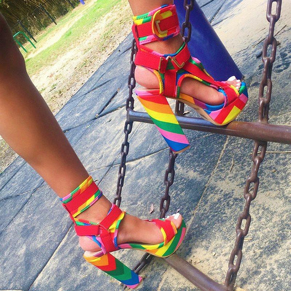 Velcro Peep Toe Platform Color Block Sandals