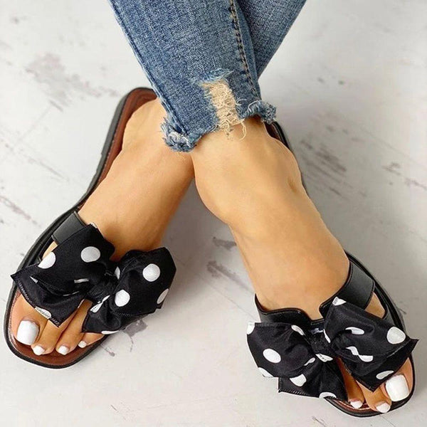 Slip-On Block Heel Bow Flip Flop Rubber Casual Slippers