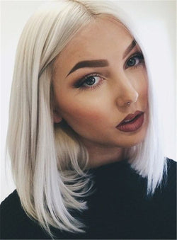 Lace Front Cap Straight Women Synthetic Hair White Bob Hairstyle Wigs