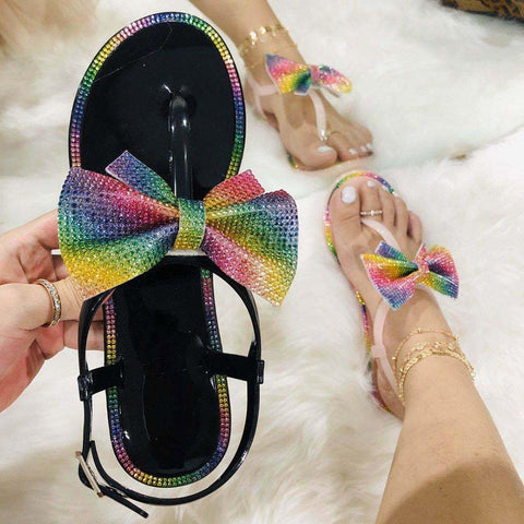 Open Toe Flat With Buckle Rhinestone Color Block Sandals