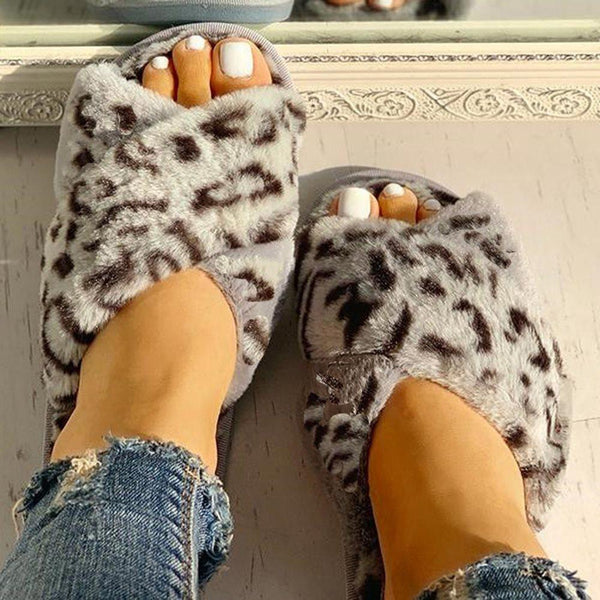 Flat With Slip-On Cross Summer Leopard Slippers