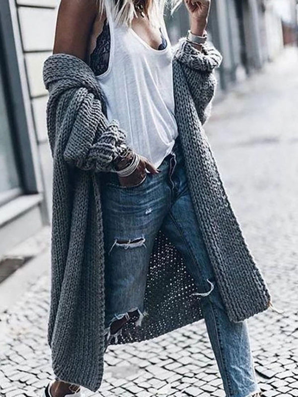 Gray Loose Long Cardigan Sweater