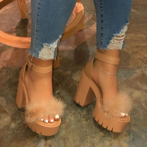 Open Toe Line-Style Buckle Chunky Heel Casual Feather Sandals
