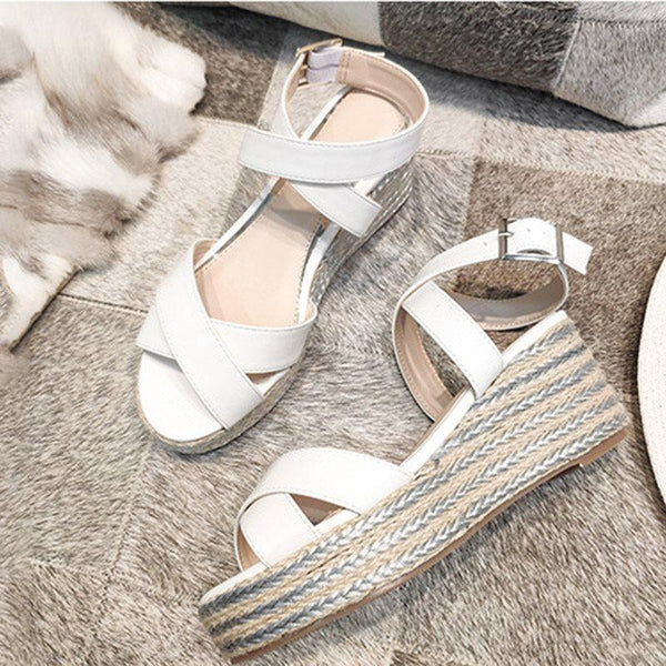 Open Toe Buckle Wedge Heel Western Buckle Sandals