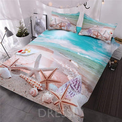 Beautiful Beach Printing Comforter Three-Piece Bedding Set