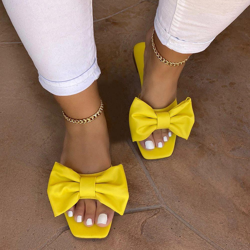 Block Heel Bow Slip-On Flip Flop Plain Slippers