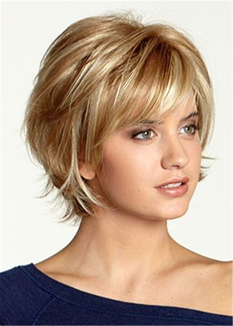 Synthetic Hair Women Capless Wavy 12 Inches Wigs
