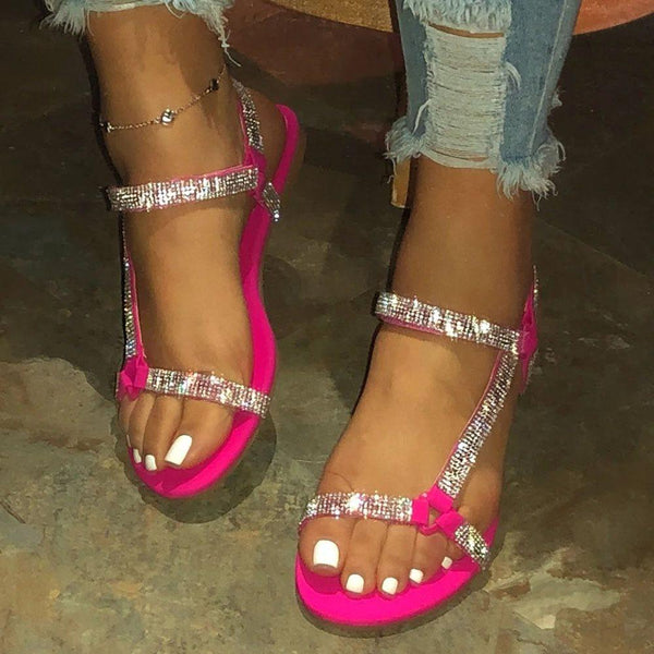 Flat With Open Toe Strappy Velcro Rhinestone Sandals