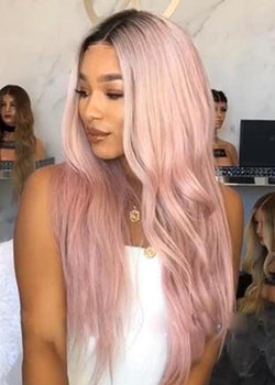 Pink Long Cosplay Wigs Capless Wavy Synthetic Hair 26 Inches Wigs